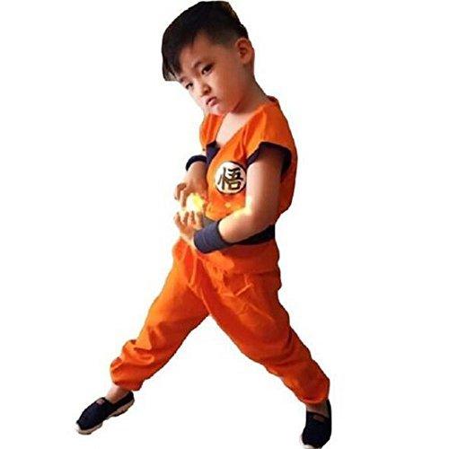 Kid Goku Costume With Tail (HOLRAN Dragonball Son Goku Costume 5-piece set Cosplay Uniform (M(130-142cm), Orange))