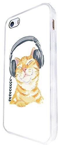 951 - Cool Cute Fun Illustration Cat Kitten Headphone Cat Doodle Feline Funny Kawaii Love Pet Design iphone SE - 2016 Coque Fashion Trend Case Coque Protection Cover plastique et métal - Blanc