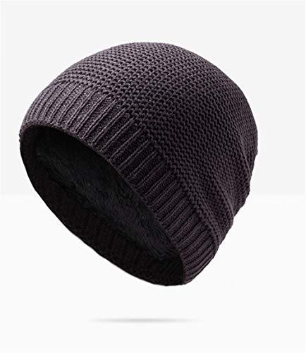 Capucha más Sombrero cálido de Lana Sombrero Sombrero Hombres de Punto Gorro Terciopelo oscuro Gris marrón los de con Guichao de Invierno Zqw4zzd