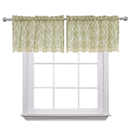 (Curtain Valances for Windows Christmas Morrocan Print Cotton Blend Rod Pocket Window Valance for Living Room 52 x 18 inches Set of 2 Light Green)