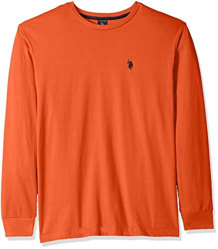 U.S. Polo Assn. Men's Long Sleeve Crew Neck T-Shirt, Pumpkin Heather, S