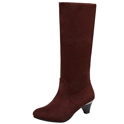 Boots Women 1457 Autumn Mid TAOFFEN Heel Classical Shoes Kitten On Brown High Pull fqqxSnw
