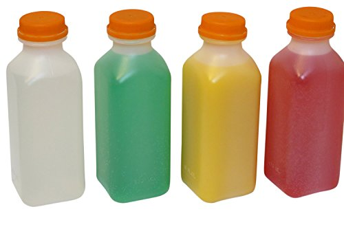 Deccoonny Plastic Juice Bottle with Temper Evident Lids Plus Straws, 8 oz., Set of 16