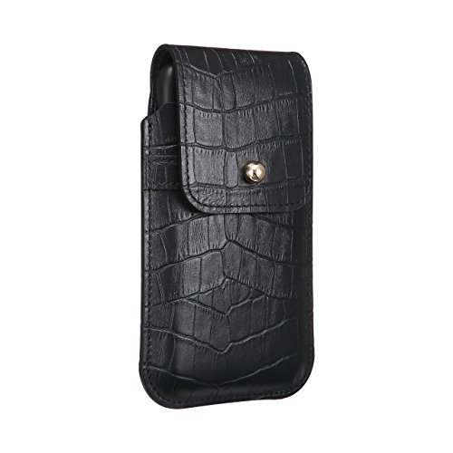 Blacksmith-Labs Barrett Mezzano 2017 Premium Oversized Genuine Leather Swivel Belt Clip Holster for Apple iPhone X for use with Apple Leather Case - Black Croc Embossed Cowhide,Gold Belt Clip by Blacksmith-Labs