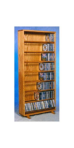 (24.25 in. Dowel CD Storage Tower in Honey Oak Finish (Honey Oak))