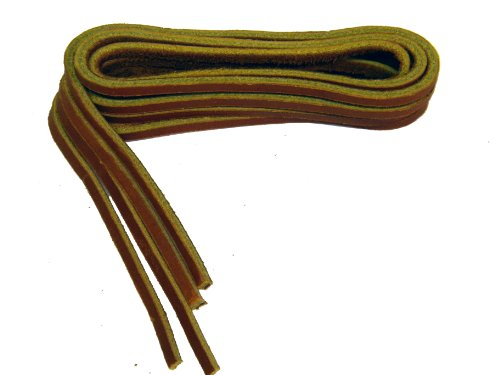 54 Inch Tan Rawhide Leather Laces for All Quality Footwear 1/8 Inch Square Cut (2 Pair (Tan Rawhide)
