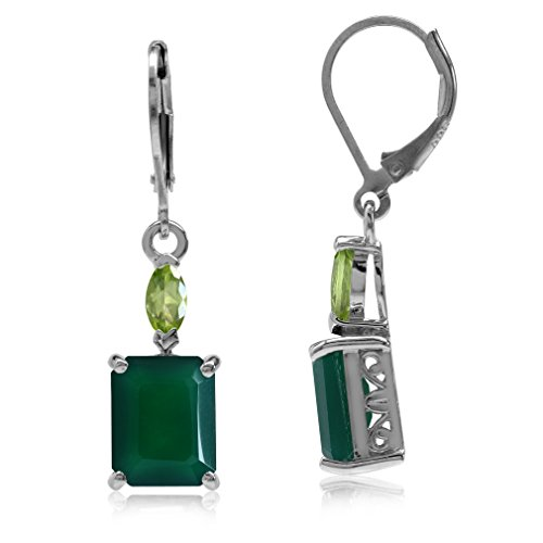 (6.38ct. Natural Octagon Shape Emerald Green Agate & Peridot 925 Sterling Silver Leverback Earrings )