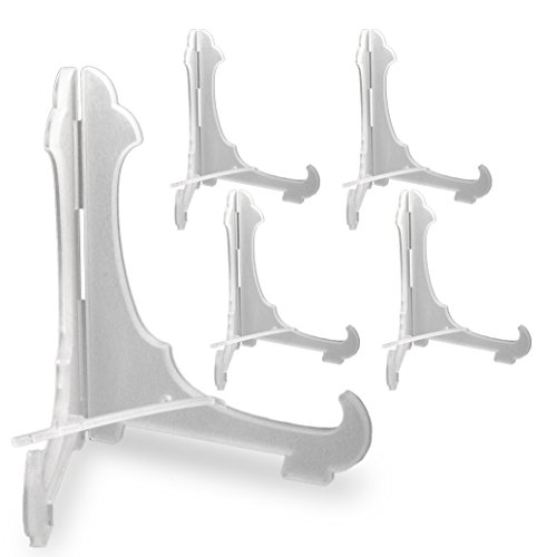BANBERRY DESIGNS Clear Frosted Plastic Economy Easels with Locking Bar 6 Inch (Pack of 5)