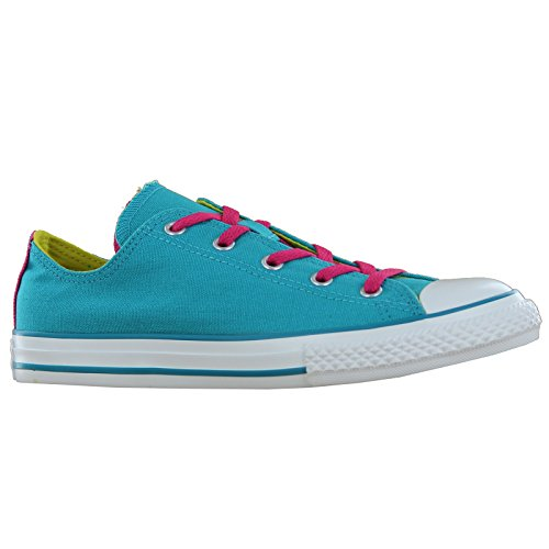 New Converse Girls Chuck Taylor Double Tongue Ox Sneakers Mediterranean 6