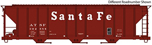 54' PULLMAN-STANDARD 4427 CD COVERED HOPPER - READY TO RUN -- SANTA FE 303036 (BROWN, WHITE)