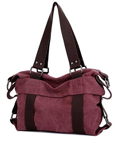 Ecokaki(TM) Vintage Casual Canvas Shoulder Messenger Bag Travel Handbags Crossbody Hobo Style Tote Bags, Purple Coffee