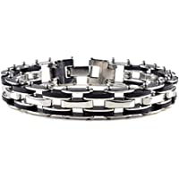 CH Mens Stainless Steel Link Bracelet Bangle Chain Black Rubber Wristband 8.5