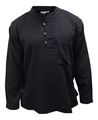 Leicht einfach schwarz opa baumwolle hemd,hippy,boho