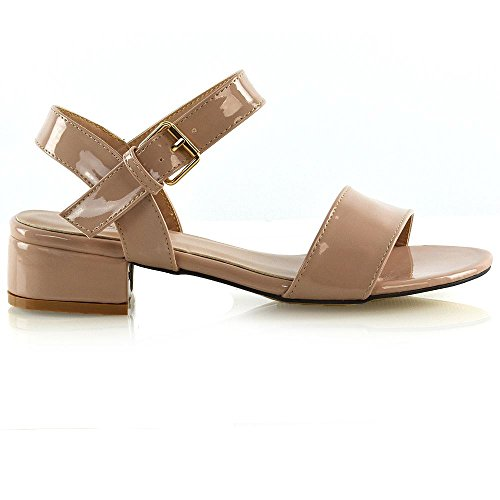 ESSEX GLAM Women Low Heel Shoes Ladies Peeptoe Strappy Buckle Ankle Strap Sandals Size Nude Patent Td4cjRK7