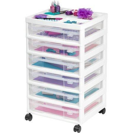IRIS 6-Case Scrapbook Cart, White (Set of 2) by IRIS USA, Inc.