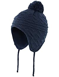 Connectyle Toddler Boys Girls Fleece Lined Knit Kids Hat with Earflap Winter Hat (Navy, M:1T-3T(18.5