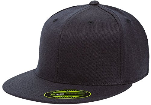 Flexfit/Yupoong Men's 210 Fitted Flat Bill Cap, Dark Navy, Large/Extra Large - Field Fitted Wool Hat