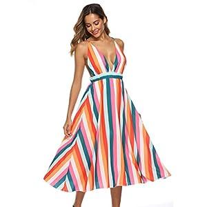 YYW Womens Deep V Neck Backless Dress Sexy Spaghetti Strap Striped Summer Beach Dress