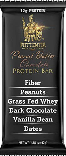 Pottentia Grass Fed Whey Protein Bar, Peanut Butter Chocolate, Simple Natural Ingredients, Eight 42g Bars, Prebiotic Fiber, Gluten Free, Non GMO, No Sugar Alcohol