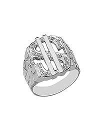 Men's Fine Sterling Silver Diamond Dollar Sign Nugget Ring