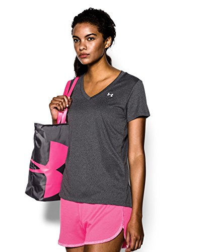 Under Armour Women's Tech V-Neck, Carbon Heather /Metallic Silver, X-Small by Under Armour (Image #2)