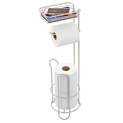 mDesign Roll Stand Plus with Shelf for Bathroom - Wet Deodorant