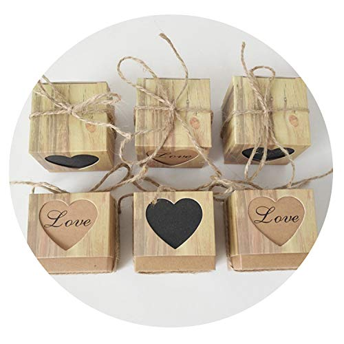 sensitives 10pcs/lot Love Christmas Candy Box Romantic Heart Kraft Gift Bag with Burlap Twine Chic Wedding Favors Gift Box Supplies 5x5x5cm]()