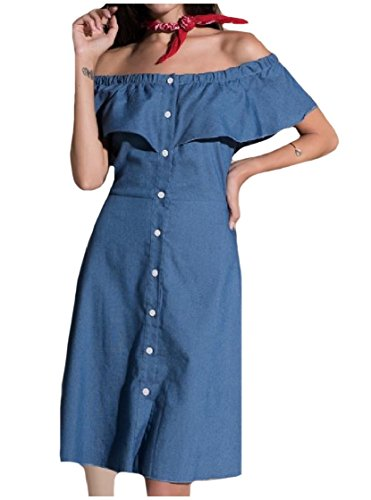 Coolred-femmes Couleur Solide Épaule Robe Hérissée Simple Boutonnage Casual Denim Bleu