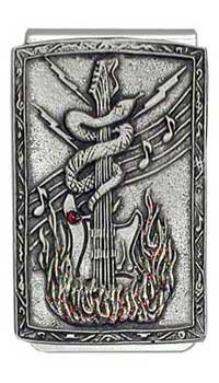 - 'Flaming Snake Guitar' Pewter Panel Silver Tone Money Clip