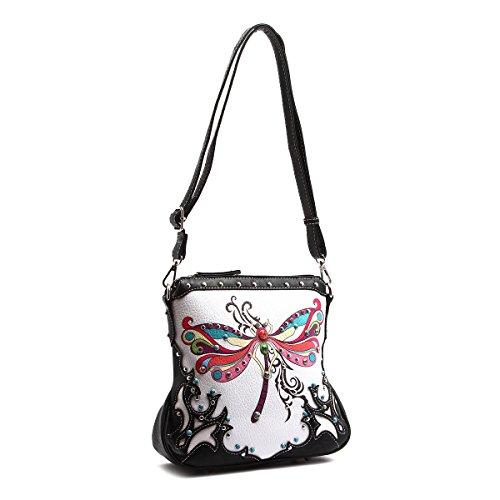 Colorful Messenger Western Studded Handbag Dragonfly Style Bag Black aHqqwU