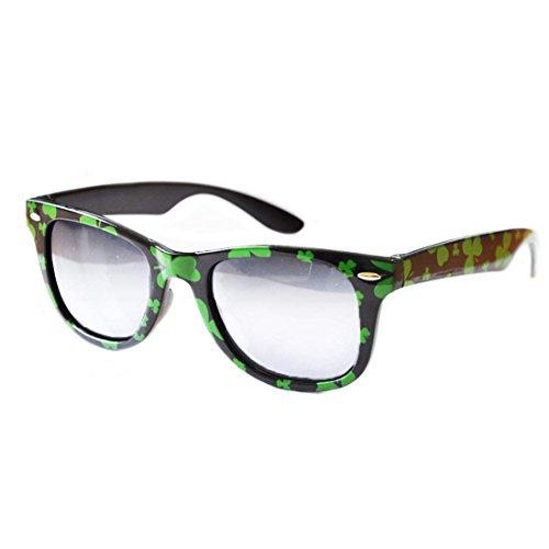 Green & Black with Shamrock Novelty Glasses