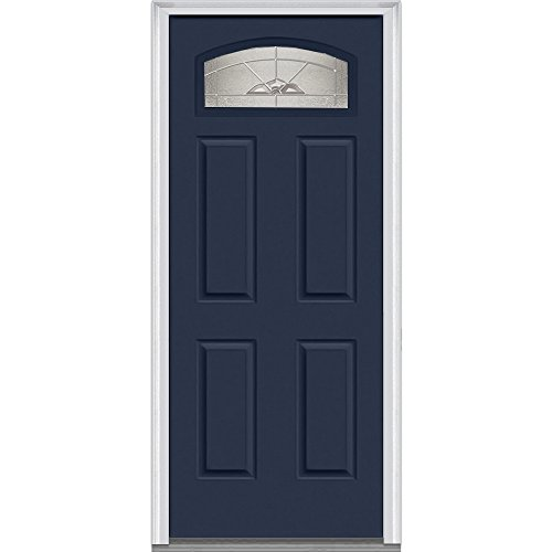 National Door Company Z012610R Steel, Naval, Right Hand In-swing, Exterior Prehung Door, Master Nouveau, 1/4 Lite 4-Panel, 30''x80'' by National Door Company