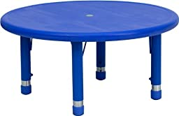 Flash Furniture YU-YCX-007-2-ROUND-TBL-BLUE-GG 33-Inch Round Height Adjustable Blue Plastic Activity Table