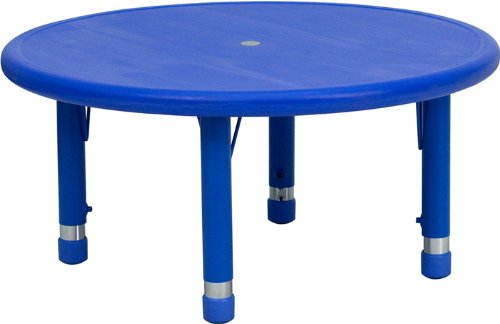 Flash Furniture 33'' Round Blue Plastic Height Adjustable Activity Table