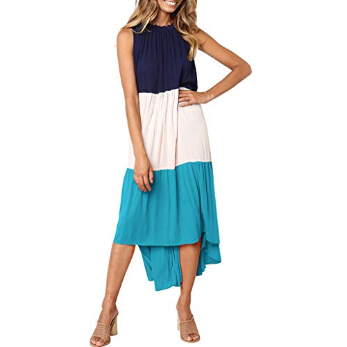 Women's Summer Boho Color Block Maxi Dresses Casual Loose Long Flowy Dress Elegant Sleeveless Sundress Blue