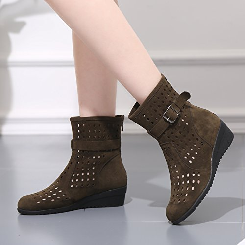 Abby 827 Womens Breathable Holes High Top Fresh Wedge Low Heel Soft Rubber Antiskidding Round Toe Zipper Comfy Nubuck Modern Square Dance Boots Vogue Brown BkCM16lEZ4