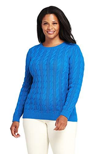- Lands' End Women's Plus Size Drifter Cotton Cable Knit Sweater Crewneck, 1X, Cyan Blue