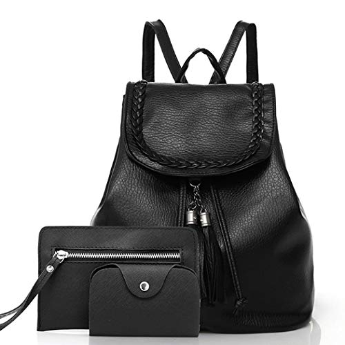 HUFCOR 3Pcs/Set Travel Backpack Korean Women Backpack Female Schoolbag PU Leather Women Bag Casual Daypack