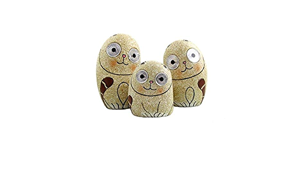Solar Cats 3 Piece Statue Set With Light Up Eyes Beige Resin Stone Finish Weather Resistant Home Kitchen