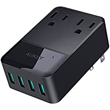 AUKEY Power Strip with 2 Outlets and 4 USB Ports 30W USB Charger for Smartphones, Tablet, Laptop and more, ETL Certified