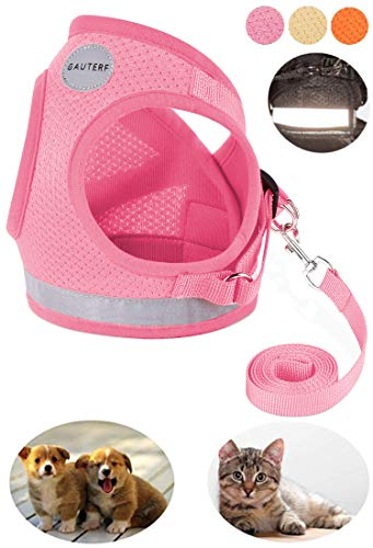 GAUTERF Pet Harnesses,Cat, Dog, Harnesses Leashes Pulling, Kitten Puppy Small Pet Adjustable Soft Net Reflective Pet Harness Leash Set (X-Small, Pink) from GAUTERF