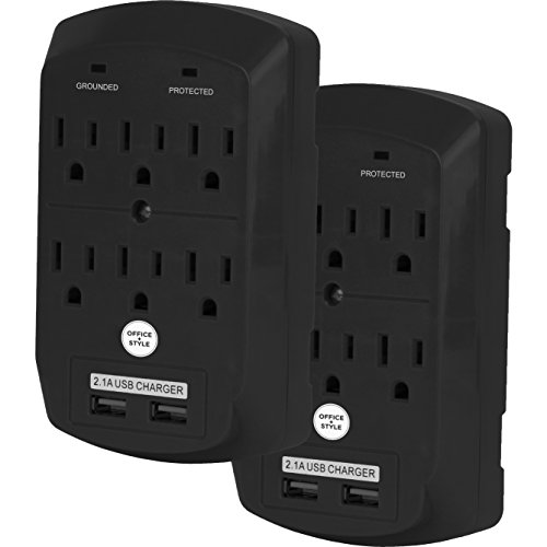 Surge Protector, Electronics Charging Station, 6 Outlet 2 USB Port Wall Adapter with Safety Indicator Lights -Black, Pack of 2- By Office + Style