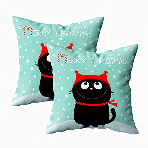 EMMTEEY Home Throw Pillowcase for Sofa Cushion Cover Merry Christmas Candy Cane Black Cat Head Face Looking Up Kitty Sitting Red Hat Scarf Decorative Square Double Sided Printing 18X18Inch,Set of 2