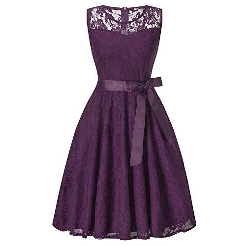 DEATU Bridesmaid Lace Dress Women Sleeveless/Long Sleeve Formal Ladies Wedding Bridesmaid Lace Long Dress(F-Purple,XL)