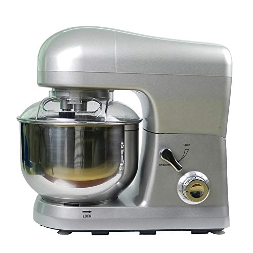 Electric Food Stand Mixer,5L Mixing Bowl, 3-In-1 Dough Hook, Whisk & Beater 850W (Stainless Steel Bowl, Silver)