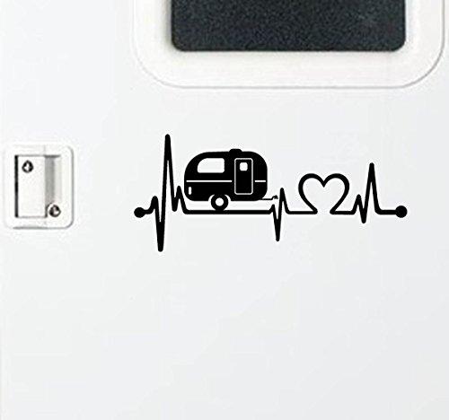Black Vinyl Camper Travel Trailer Heartbeat Lifeline Decal Sticker 11.50 Inches x 5.0 Inches Vinyl Sticker Decal For Car Truck SUV Window Vinyl Sticker by dfueh