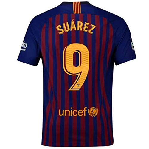 56619a54e Koveper 2018-2019 Barcelona Home  9 Suarez Player Men s Soccer Jersey M Blue