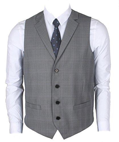 Ruth&Boaz Men's 2Pockets 4Buttons Business Tailored Collar Suit Vest (XL, Glen Plaid Check Gray)