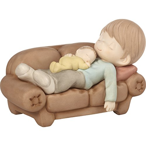 Precious Moments 172019 A Moment To Treasure Bisque Porcelain Figurine Sleeping Father with Baby