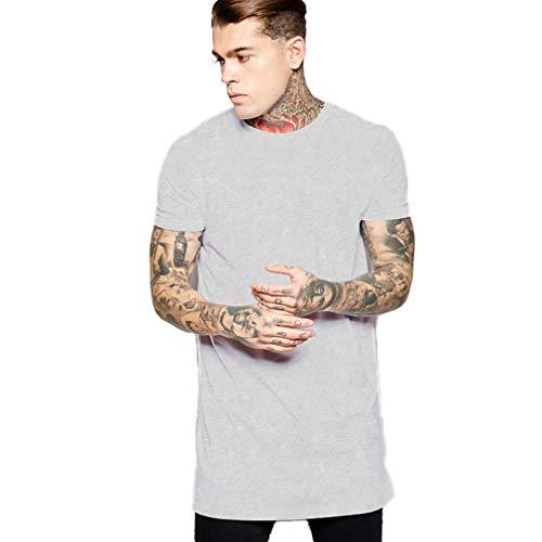 YANWENFANG Men T-Shirt Longline Tshirt